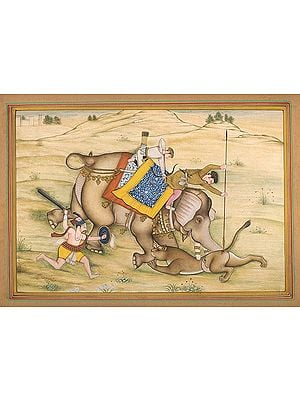 Jahangir Spearing a Lioness