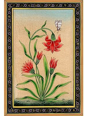Mughal Flower with Butterfly