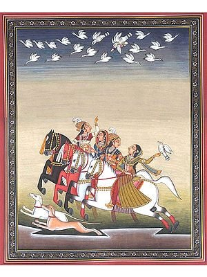 Princesses Playing Pigeons Play with Companions (Kabutarbaji)