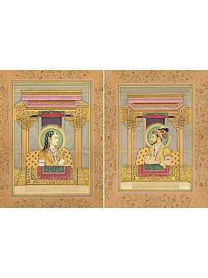 Mughal Emperor Shahjahan and Empress Mumtaj Mahal (Set of Two Paintings)