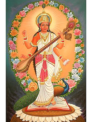Four-Armed Standing Saraswati with Multi-color Flowers Aureole