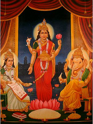Goddess Lakshmi with Ganesha and Saraswati