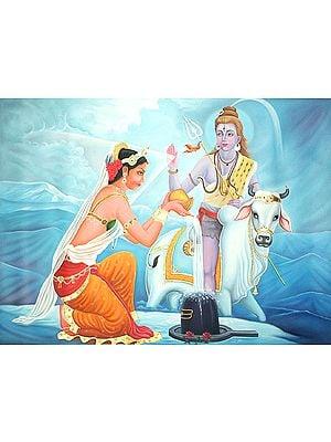 Lord Shiva Blessing Parvati Worshipping The Shiva Linga