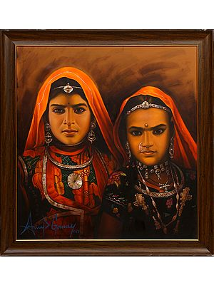 The Solemn Banjara Sisters (Framed)