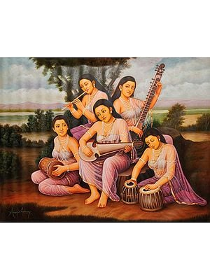 Five Sisters Making Music By The Riverbank