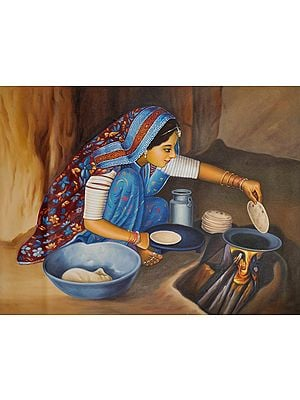 Rustic Woman Tending To Her Home