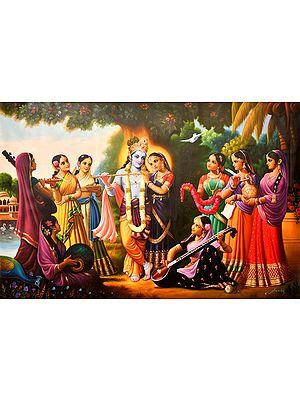 Radha Krishna with Gopikas