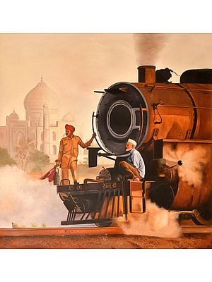 Steam Engine Against Taj Mahal