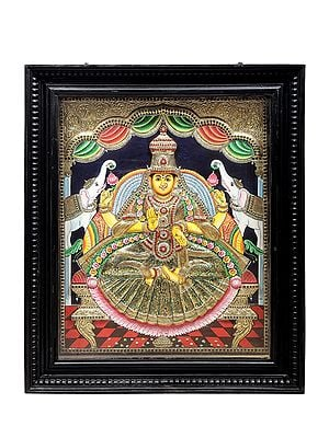 "30"" x 36"" Padmasana Gajalakshmi Tanjore Painting | Traditional Colors With 24K Gold | Teakwood Frame | Gold & Wood | Handmade | Made In India"