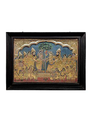 "41"" x 32"" Rukmini Kalyanam | Marriage of Rukmini & Krishna | Tanjore Painting | Traditional Colors With 24K Gold | Teakwood Frame | Gold & Wood | Handmade | Made In India"