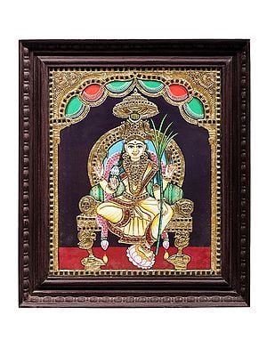 """18"""" x 22"""" Goddess Rajarajeshwari Tanjore Painting 