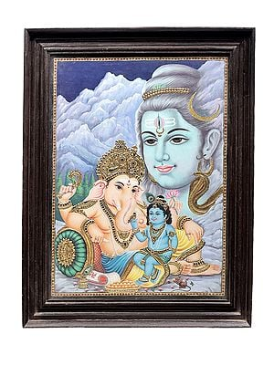 """22"""" x 28"""" Krishna Sitting on The lap of Ganesha in Shiva's Abode Tanjore Painting 