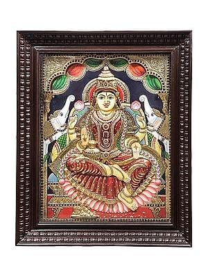 "29"" x 35"" Padmasana Gajalakshmi Tanjore Painting | Traditional Colors With 24K Gold | Teakwood Frame | Gold & Wood | Handmade | Made In India"