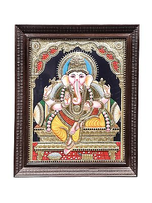 """28"""" x 34"""" Bhagawan Ganesha Tanjore Painting 