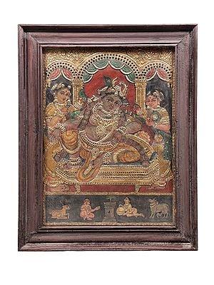 "22"" x 28"" Navaneeta Krishna Tanjore Painting | Traditional Colors With 24K Gold | Teakwood Frame | Gold & Wood | Handmade | Made In India"