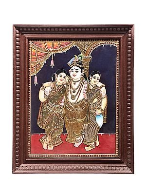 """19"""" x 23"""" Lord Krishna With His Concorts Rukmini And Satyabhama Tanjore Painting 