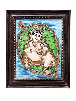 """19"""" x 23"""" Vatapatra-Shayi Krishna Tanjore Painting 