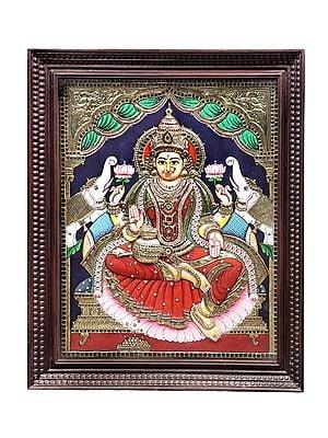 "28"" x 34"" Padmasana Gajalakshmi Tanjore Painting | Traditional Colors With 24K Gold | Teakwood Frame | Gold & Wood | Handmade | Made In India"