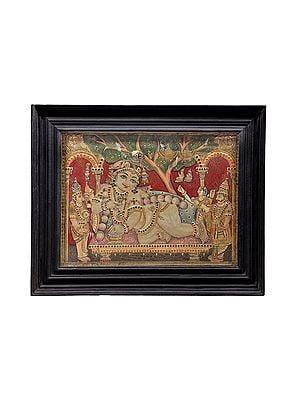 "29"" x 23"" Navaneeta Krishna Tanjore Painting | Traditional Colors With 24K Gold | Teakwood Frame | Gold & Wood | Handmade | Made In India"