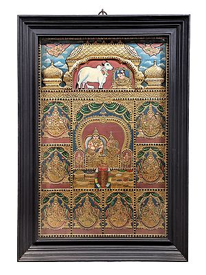 """29"""" x 41"""" Kubera and Ashtalakshmi Tanjore Painting 