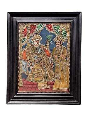 """23"""" x 29"""" The King Tanjore Painting 