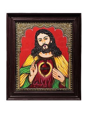 """18"""" x 21"""" Jesus Christ Tanjore Painting 