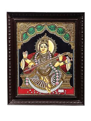 """19"""" x 23"""" Goddess Saraswati Tanjore Painting 