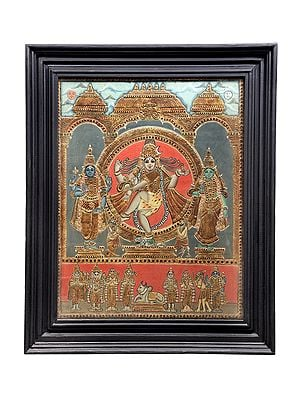 Urdhva Tandav Dancing Shiva Tanjore Painting | Traditional Colors With 24K Gold | Teakwood Frame | Gold & Wood | Handmade | Made In India
