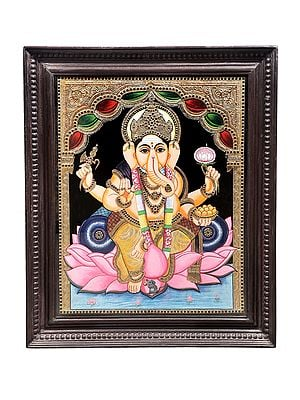 """30"""" x 35"""" Lord Ganesha Seated on Lotus Tanjore Painting 