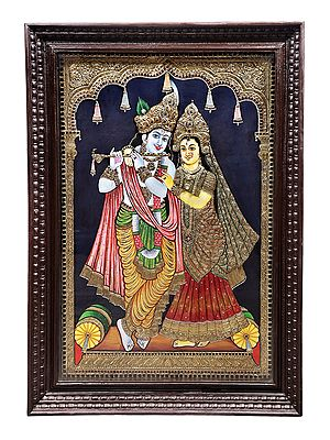 """29"""" x 40"""" Lord Krishna and Radha Tanjore Painting 