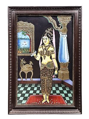 """28"""" x 40"""" Rukmini Wrote a Love letter to Krishna Tanjore Painting 
