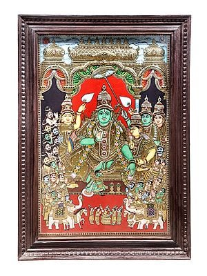 """29"""" x 41"""" Rama Darbar Tanjore Painting 