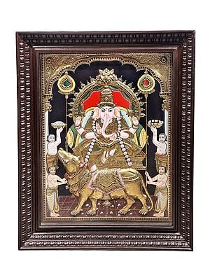 """35"""" x 28"""" Lord Ganesha Seated on a Rat Tanjore Painting 