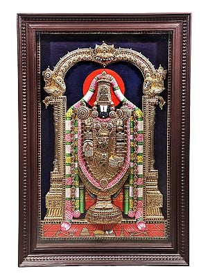 """31"""" x 46"""" Lord Venkateshvara as Balaji Tanjore Painting 