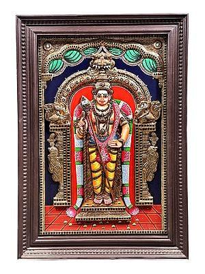 "29"" x 41"" Kumara Kartikeya (Murugan) Tanjore Painting | Traditional Colors With 24K Gold | Teakwood Frame | Gold & Wood | Handmade | Made In India"
