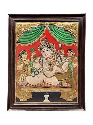 """28"""" x 34"""" Butter Krishna Tanjore Painting 