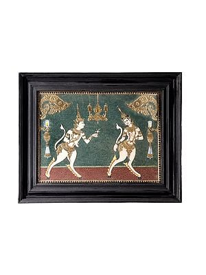 """29"""" x 23"""" Kamadeva and Rati Tanjore Painting 