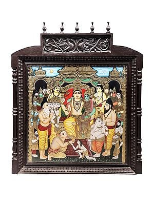 """43"""" x 52"""" Shiva Darbar Tanjore Painting 