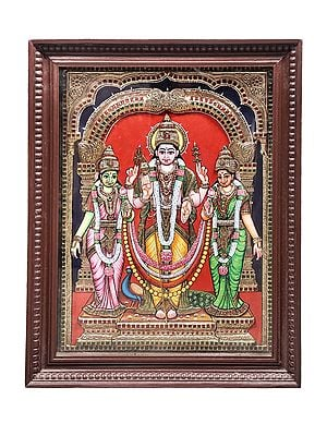 """21"""" x 27"""" Lord Karttikeya With Devasena And Valli Tanjore Painting 