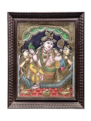 """29"""" x 35"""" Lord Krishna Tanjore Painting 