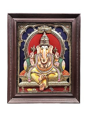 """29"""" x 35"""" Lord Ganesha Tanjore Painting 