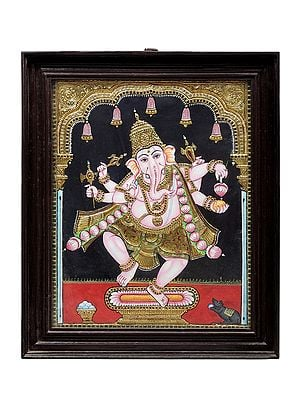 """19"""" x 23"""" Dancing Lord Ganesha Tanjore Painting 