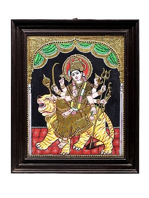 """19"""" x 23"""" Ashtabhuja Goddess Durga Tanjore Painting 