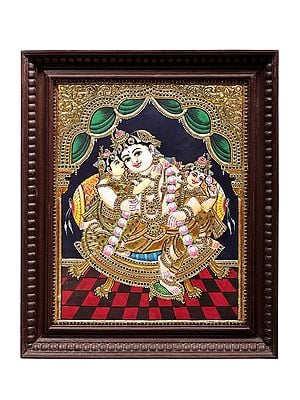 """19"""" x 23"""" Lord Krishna With Rukmini And Satyabhama Tanjore Painting 