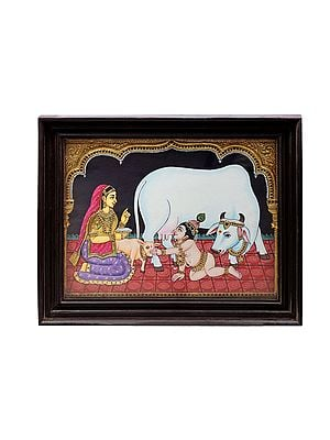 """23"""" x 19"""" Butter Krishna and Yashoda With Cow Tanjore Painting 