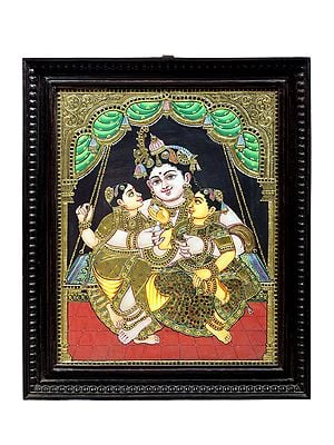 """19"""" x 23"""" Lord Krishna Swings With Rukmini And Satyabhama Tanjore Painting 