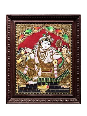 """20"""" x 23"""" Lord Krishna Tanjore Painting 