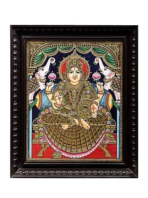 "19"" x 23"" Padmasana Gajalakshmi Tanjore Painting | Traditional Colors With 24K Gold | Teakwood Frame | Gold & Wood | Handmade | Made In India"