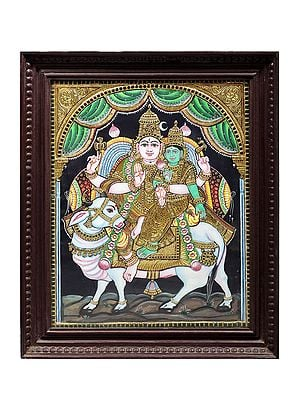 """19"""" x 23"""" Lord Shiva with Parvati Seated on Nandi Tanjore Painting 