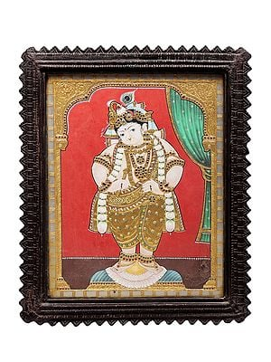 """20"""" x 24"""" Lord Krishna Tanjore Painting 